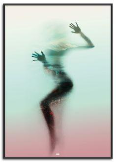Shadow of Nature | Køb nu på www.posure.dk | Priser fra 179,-  Pastel farvet plakat med sløret kvinde af Posure