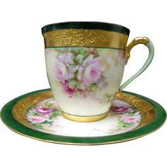 Stunning Limoges Hand Painted 18 Pcs Rose Cup Saucer Set