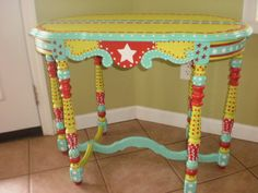 Hand Painted Whimsical Table - Gypsy Folk Art - Completely Hand Painted OOAK-Local Pick Up on Etsy, $275.00
