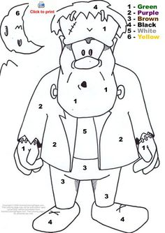 Printable Halloween Coloring Pages | ... Color by Number : Halloween Color By Number : Activity Coloring Pages