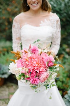 "EmilyAyerThomas: ""One of the (many!) reasons I chose to be a September bride was so I could carry dahlias, so today's fall wedding is calling my name. So beautiful!!"" Photo by Sera Petras, blooms by Nature Composed"