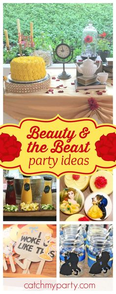 Be our Guest at this gorgeous Beauty and the Beast birthday party! The photo booth props look like so much fun!! See more party ideas and share yours at CatchMyParty.com
