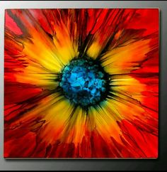 """Modern Art Paintings for Sale """"Abstract Red Sun Burst"""" - Herbst Metal Wall Art - Art Paintings For Sale, Modern Art Paintings, Abstract Paintings, Oil Paintings, Indian Paintings, Landscape Paintings, Art Mural, Wall Art, Wall Decor"""