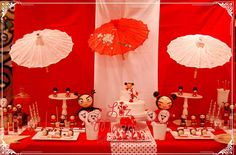 Red and white dessert table at a Pucca birthday party! See more party ideas at CatchMyParty.com!