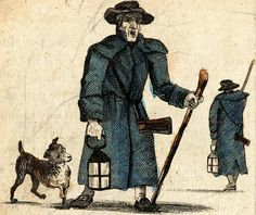 """""""Past Ten O'Clock!"""" from """"The New Cries of London"""" (1803) - This is a night watchman."""