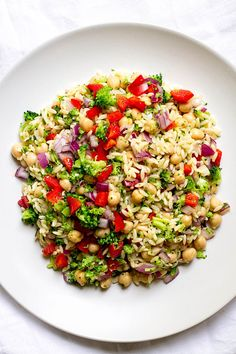This light and refreshing orzo pasta salad is full of fresh broccoli, red bell pepper, red onion, and chickpeas with a lemony vinaigrette.