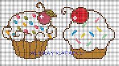 Cupcakes perler bead pattern by Drayzinha Cross Stitch Cards, Beaded Cross Stitch, Cross Stitching, Cross Stitch Embroidery, Perler Patterns, Loom Patterns, Beading Patterns, Embroidery Patterns, Cross Stitch Designs