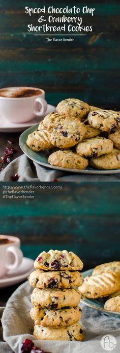 Chocolate Chip & Cranberry Shortbread Cookies - Crisp, buttery, crumbly shortbread cookies, studded with bits of milk chocolate and dried cranberries and spiced with warming spices like cinnamon, nutmeg and allspice, that  are unbelievably (repeat, unbelievably!) easy to make and great for holiday baking! [ad] #BetterWithCraisins
