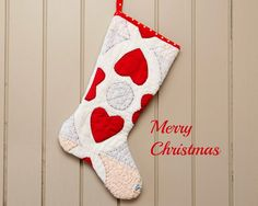 Christmas Stocking Vintage Quilt 1930s Red Hearts