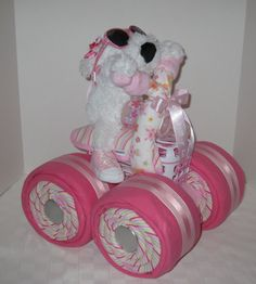 Diaper Cake, 4-Wheeler, Quad Motorcycle Baby Shower,Girl Baby Gift, Shower Centerpiece, Baby Shower Gift,Unique,Gift Basket,. $109.00, via Etsy.