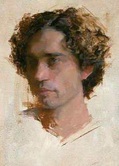 """Jean Pierre"" - Jeremy Lipking (b. 1975), oil on canvas, Agoura Hills, CA {figurative #impressionist art male head portrait man face cropped grunge painting} lipking.com:"