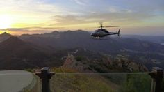 Malibu Rocky Oaks Estate and Vineyards, an amazing home in the mountains above Malibu, has its own helipad where we can land with our Elite Adventure Tour guests for a private wine tasting session at sunset.