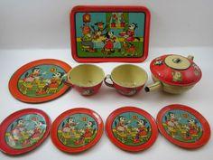 Krazy Kat Tin Tea Set Litho J Chein 9 PC Red RARE 1930'S | eBay