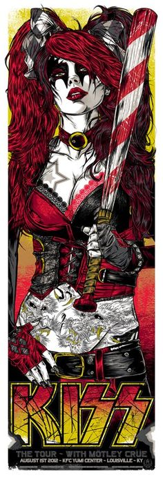 Kiss - louisville ky 2012 Screenprint by Rhys Cooper | Trampt Library