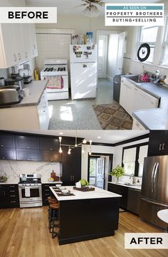 Property Brothers: Buying + Selling featured a kitchen remodel upgraded with Breman style Diamond Cabinetry with a Black on maple wood finish. Get this look and transform your home.