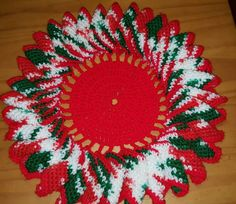 Set of Two Hand Crocheted Ruffled Christmas Doilies Centerpiece