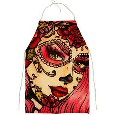 Day of the Dead Apron cooking Kitchen rockabilly by Pajamasquid, $32.99