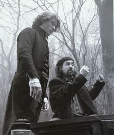 Johnny Depp and Tim Burton on the set of Sleepy Hollow in 1999