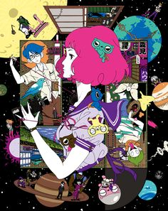 The beautiful Blu-ray covers for my all time favorite anime, The Tatami Galaxy. These were illustrated by Yusuke Nakamura, who is most notable for his cover designs for Asian Kung-Fu Generation. Japan Illustration, Graphic Design Illustration, Art Galaxie, The Tatami Galaxy, Japanese Pop Art, Character Art, Character Design, Art Japonais, Kill La Kill