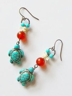 Unique Turquoise Turtle Carnelian Dangle Earrings - FREE SHIPPING