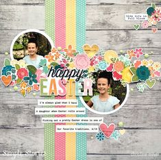 A light and whimsical Easter Scrapbook Layout featuring the Hip Hop Hooray collection from Simple Stories Scrapbook Layout Sketches, Scrapbook Designs, Scrapbooking Layouts, Scrapbook Cards, Smash Book Pages, Paper Bag Album, Hip Hop, Easter Pictures, Landscape Quilts