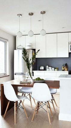 64 Contemporary Modern Dining Room Design Ideas to Makeover your - Contemporary Modern Kitchen, Small kitchen Design, Smart Kitchen Furniture Remodel, Diy Kitchen Island Dining Table, Modern Kitchen Tables, Small Modern Kitchens, Modern Kitchen Design, Interior Design Kitchen, Home Design, Design Ideas, Dining Tables, Kitchen Designs