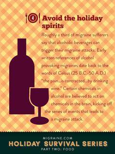 Food: a Migraine.com holiday survival guide - alcoholic beverages can trigger migraine attacks   Migraine.com