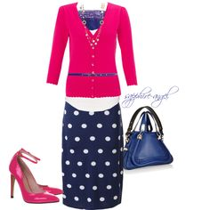 The Blue and white is what I like, but the  pink is a nice addition? I don't care for the shoes.