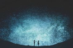 Poetic Silhouettes in Front of Magic Starry Sky