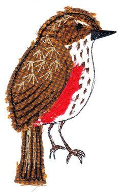 Meet The Maker – Sarah Dodd Robin – Sarah Dodd textile Free Motion Embroidery, Bird Embroidery, Free Machine Embroidery, Free Motion Quilting, Fabric Birds, Fabric Art, Sarah Dodd, Textiles, Bird Applique