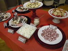 Hot chocolate bar!  What a cute idea for Christmas parties!!