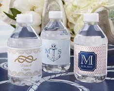 Nautical Wedding Water Bottle Labels #weddings #nauticalweddings