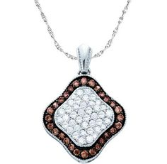 1.00CT Chocolate Brown/White Diamond 10K White Gold Pendant