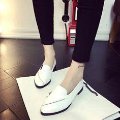 Solid Color Block Heel Women's Loafers