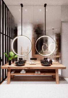 Vanity - rustic wood vanity, black marble sinks, large circular LED light fixtures suspended in front of a floor to ceiling mirror, black metal frame windows & door open to shower.