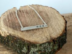 Personalized Silver Bar Necklace, Sterling Silver… Silver Bar Necklace, Arrow Necklace, Gold Jewellery Design, Gold Jewelry, Custom Engraved Necklace, Silver Bars, Custom Engraving, Sterling Silver Pendants, Hand Stamped