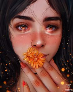 Midsummer Gaze by taozipie on DeviantArt Digital Art Anime, Digital Art Girl, Digital Portrait, Portrait Art, Girly Drawings, Cool Art Drawings, Girl Cartoon, Cartoon Art, Dibujos Tumblr A Color