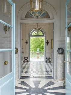 Château Fourcas Hosten, Listrac by Coorengel-Calvagrac Neoclassical Interior, Exterior Front Doors, Beautiful Interiors, French Interiors, Painted Floors, Entry Foyer, French Country Style, Architectural Elements, Tile Design
