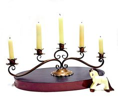 Copper Candle Holder Candlelabra 1950s Rustic Chic by CoconutRoad, $24.00