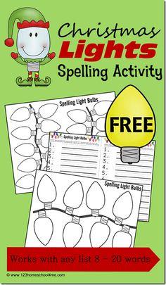 123 Homeschool 4 Me: Christmas Lights Spelling Activity