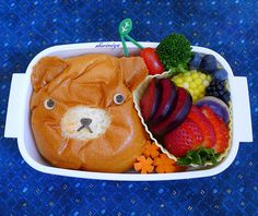 Bear bun! And look at all those colorful fruits.