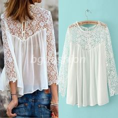 Cheap blouses jeans, Buy Quality shirt bike directly from China shirt quotes Suppliers: New 2015 Lace Blouses Blusas Femininas Summer Chiffon Lace Shirts Blusas Women Blouses White Lace Crochet Plus Size Women Tops White Lace Blouse, Floral Blouse, Short Shirts, Style Casual, Long Blouse, Sexy Blouse, Chiffon Shirt, Mode Outfits, Lace Tops