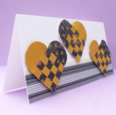 Woven hearts Cards ~ $4.25 Anniversary or wedding celebration card with black and gold woven hearts
