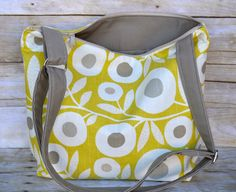 Large Camera bag Made in the USA by Darby Mack Kiwi Lime and Grey flowers, foam padde purse insert, dslr camera bag, photog gear for women