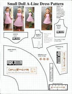 Barbie A Line Empire Dress 18 Inch Doll Clothes Pattern