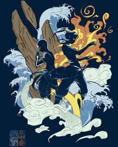 Love the Chinesey style of the elements in this and the silhouettes of Aang and Korra.