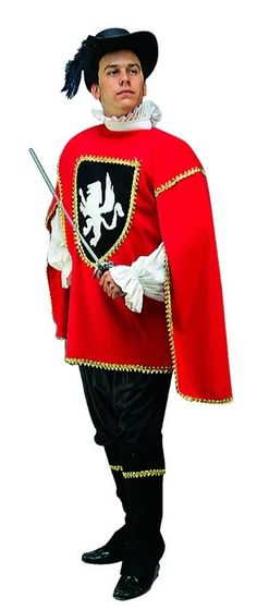 90f37b7be296 Three Musketeer Red Tunic Costume Adult Standard