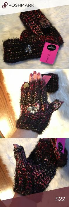 Betsey Johnson Knit Texting Gloves Betsey Johnson Knit Texting Gloves. Cute fingerless gloves with jeweled embellishments on the back. Also has gold tone Betsey Johnson logo charm sewn to left glove. New with tags! Betsey Johnson Accessories Gloves & Mittens
