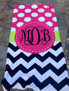 Personalized Beach Towel Flowers Lilly Pulitzer by LittleBitSassy