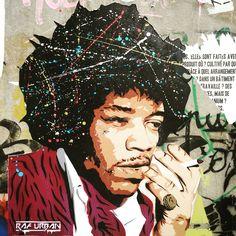 #jimihendrix by @raf.urban #rafurban #areyouexperienced #guitarhero #70s #seventies #woodstock #streetart #urbanart #graffiti #graff #graffitiwall #wall #spray #bombing #lelavomatik #paris